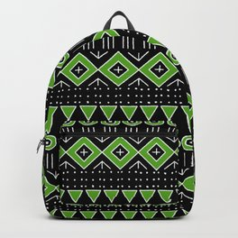 Mudcloth Style 2 in Black and Lime Green Backpack