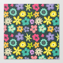 Artistic hand painted teal yellow violet floral illustration Canvas Print