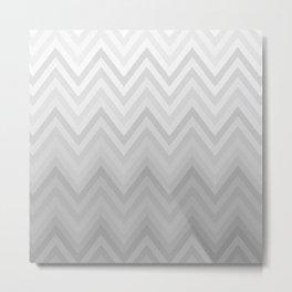 Chevron Fade Grey Metal Print