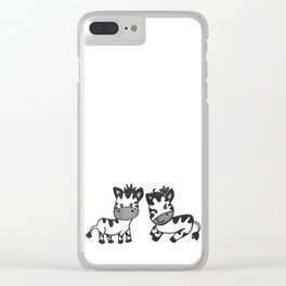 Lovely couple: Zebra little baby black and white Clear iPhone Case