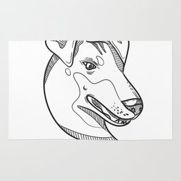 Manchester Terrier Head Drawing Rug