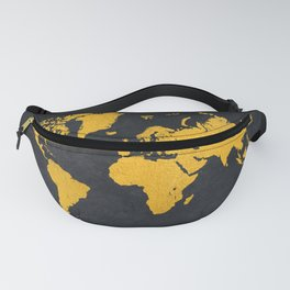 world map gold #map #gold Fanny Pack