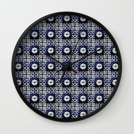 blue tile pattern VIII - Azulejos, Portuguese tiles Wall Clock