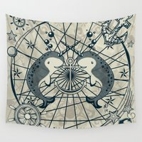 narwhal Wall Tapestries featuring Narwhal by AmKiLi
