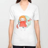 ponyo V-neck T-shirts featuring Ponyo by munieca