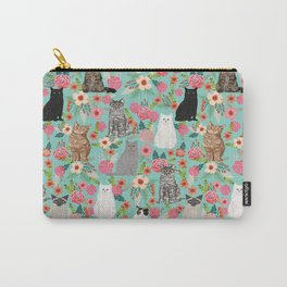Cats floral mixed breed cat art cute gifts for cat ladies cat lovers pet art Carry-All Pouch