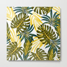 Original seamless tropical pattern with bright plants and leaves on a white background. Seamless pattern with colorful leaves and plants. Beautiful exotic plants. Metal Print