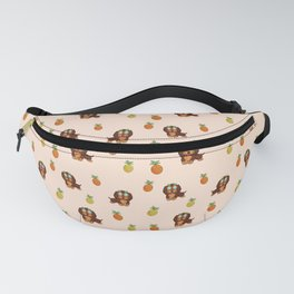 Cute tropical Dachshund and Pineapple Pattern (Orange) Fanny Pack
