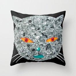 monster cat Throw Pillow