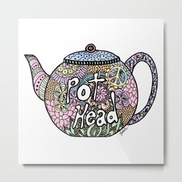Tea Pot Head Metal Print