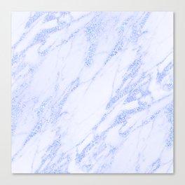 Blue Marble - Shimmery Glittery Cornflower Sky Blue Marble Metallic Canvas Print