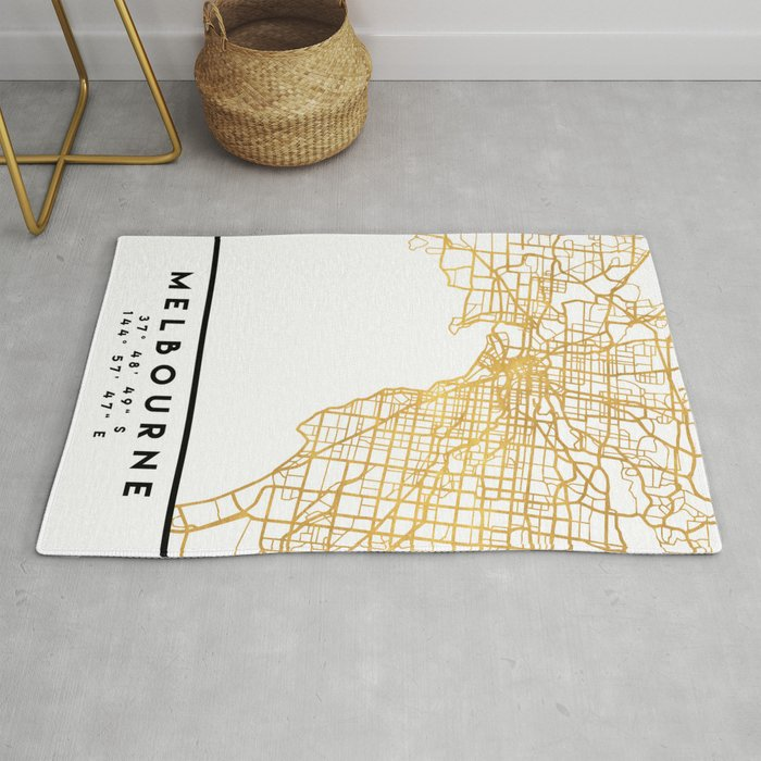 MELBOURNE AUSTRALIA CITY STREET MAP ART Rug