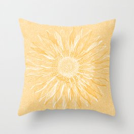 Mandala, Sunflower Prints, Yellow Throw Pillow