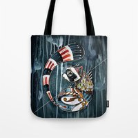 racoon Tote Bags featuring Racoon by mr. louis
