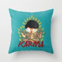 karma Throw Pillows featuring Karma by Seez