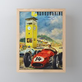 1957 Grand Prix Motor Racing Nurburgring Germany Vintage Advertising Poster Framed Mini Art Print