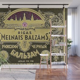 Vintage 1950 Rigas Melnais Balzams Wine Bottle Pink-Fushia Label Wall Mural