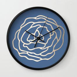 Flower in White Gold Sands on Aegean Blue Wall Clock