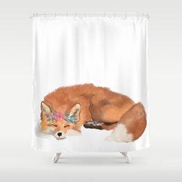 Fox, flower crown, fox art, fox watercolor Shower Curtain