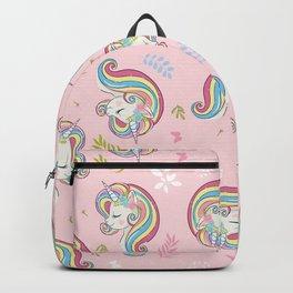 Cute unicorn face design pattern. Backpack