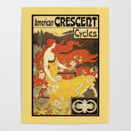 Vintage American art nouveau Bicycles ad Poster