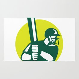 Cricket Batsman Batting Icon Retro Rug