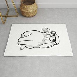 Cute Rabbit Bunny Nerd With Geek Glasses Rug