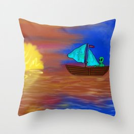 Sunset Voyage with an Extraterrestrial Throw Pillow