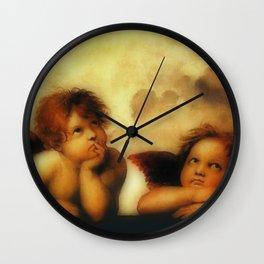 """Raffaello Sanzio da Urbino """"Sistine Madonna"""", 1513-1514 - angels (1) Wall Clock"""