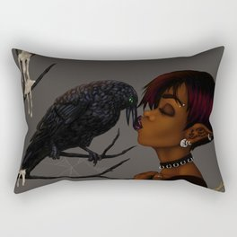 Kissing Crow Rectangular Pillow