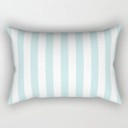 Duck Egg Pale Aqua Blue and White Wide Vertical Beach Hut Stripe Rectangular Pillow