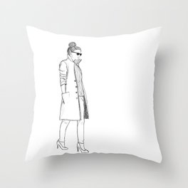 sketchy lady Throw Pillow