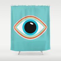 evil eye Shower Curtains featuring Evil Eye Aqua by MY  HOME
