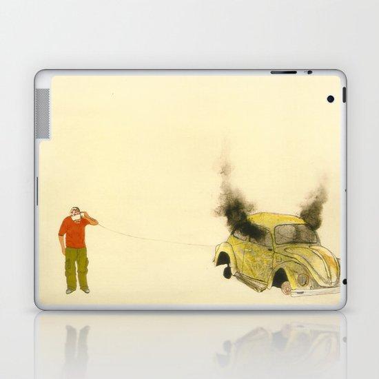 man listening a car burning Laptop & iPad Skin