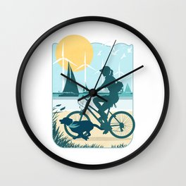 On the Beach at Sunset Wall Clock