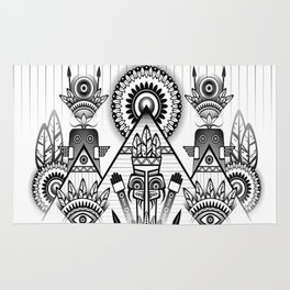 Native American, Black and White Drawing Rug