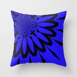 The modern flower Royal Blue Throw Pillow