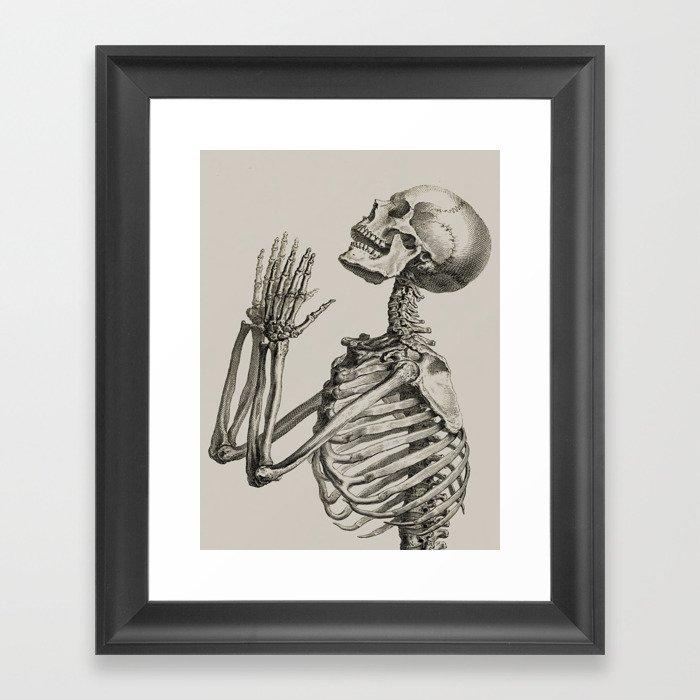 William Cheselden, Osteographia (The Anatomy of Bones), London, 1733 Praying Skeleton Gerahmter Kunstdruck