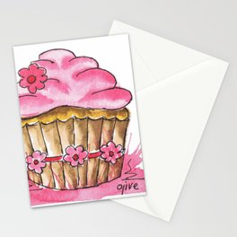 Little pink cup cake Stationery Cards