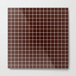 Black bean - purple color - White Lines Grid Pattern Metal Print