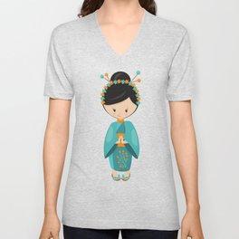 Japanese Girl, Cute Girl, Girl In Blue Kimono Unisex V-Neck