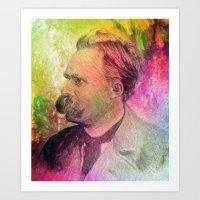 nietzsche Art Prints featuring F.W. Nietzsche by Taylan Soyturk
