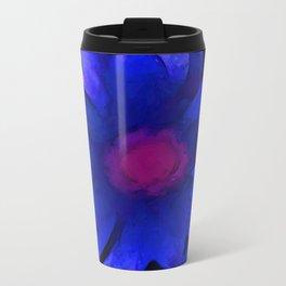 Cobalt Blue Flower in a Pot Metal Travel Mug