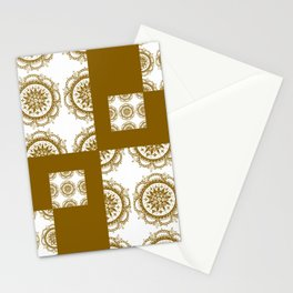 Amber and White Floral Mandala Patch-Work Textile Stationery Cards