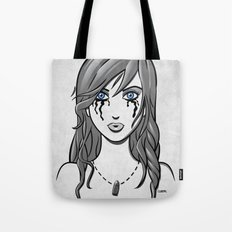 Beautiful Girl in Tears Wearing a Necklace with a Bullet Charm Tote Bag