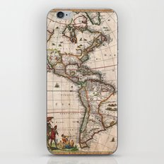 1658 Visscher Map of North America and South America (with 2015 enhancements)  iPhone & iPod Skin