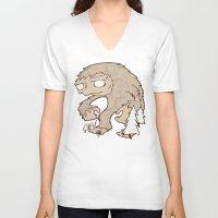 sasquatch V-neck T-shirts featuring Sasquatch by rebecca miller