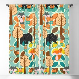 Magical forest with foxes and bears Blackout Curtain
