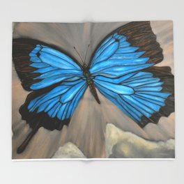 Ulysses Blue Butterfly Throw Blanket