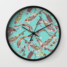 lucky koi blue Wall Clock